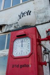 An old petrol pump near the quay