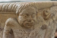 Saxon carving of a merman on the font