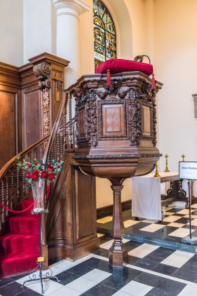 The 17th century pulpit by Grinling Gibbons