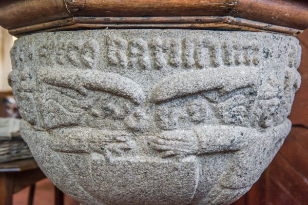 St Winnow Church photo, Serpents on the beautifully carved font