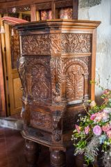 The superbly carved pulpit