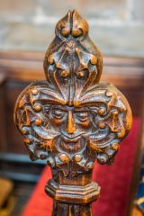 Green Man carved pew end