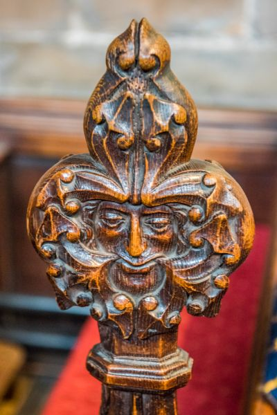 Stafford, St Mary's Church photo, Green Man carved pew end