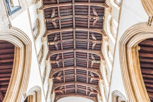 The magnificent angel roof in the nave, St John's Church, Stamford