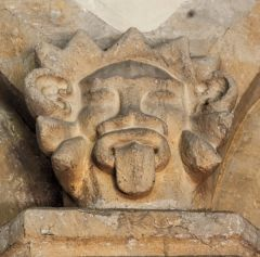 A grotesque carved head inside St Michael's Church