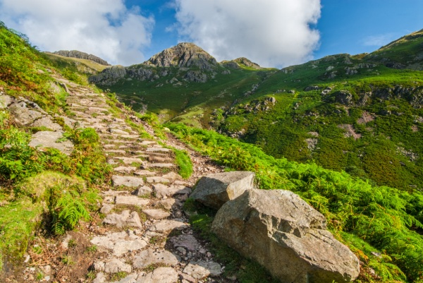 The trail climbs beside Stickle Ghyll