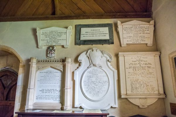 Stock Gaylard, St Barnabas Church photo, Yeatman memorials on the south wall