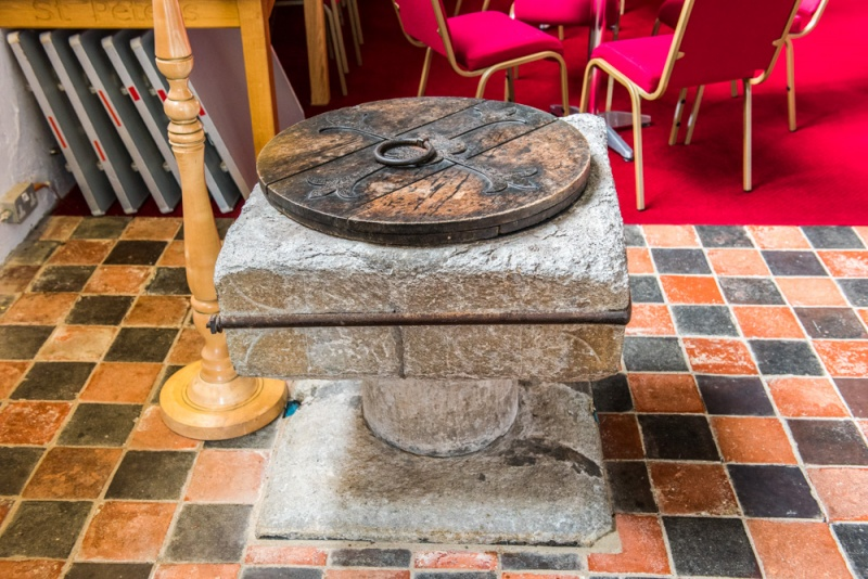 The 12th century font from St Peter Old Church