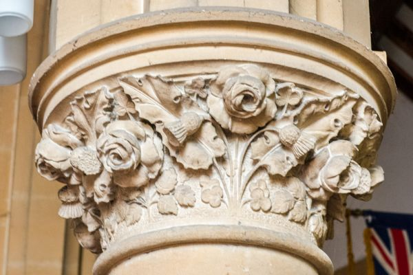 Stockbridge, St Peter's Church photo, A beautifully carved 19th century column capital