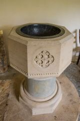 The simply decorated Victorian font