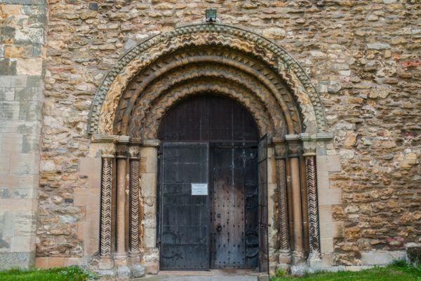 Stow Minster photo, The beautifully carved entrance doorway