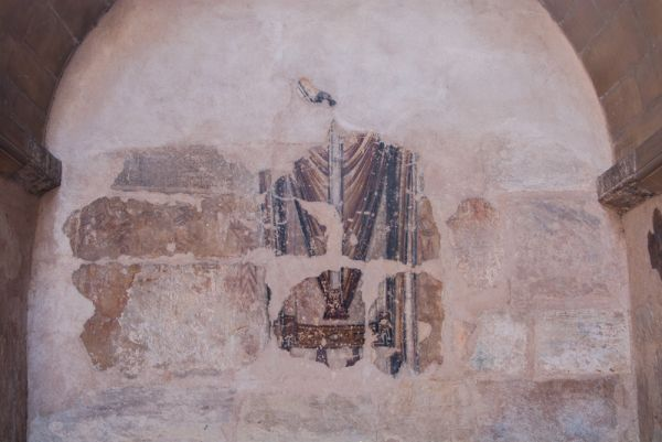 Stow Minster photo, 12th century wall painting of St Thomas Becket