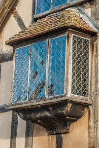 A projecting mullioned window at Shakespeare's Birthplace