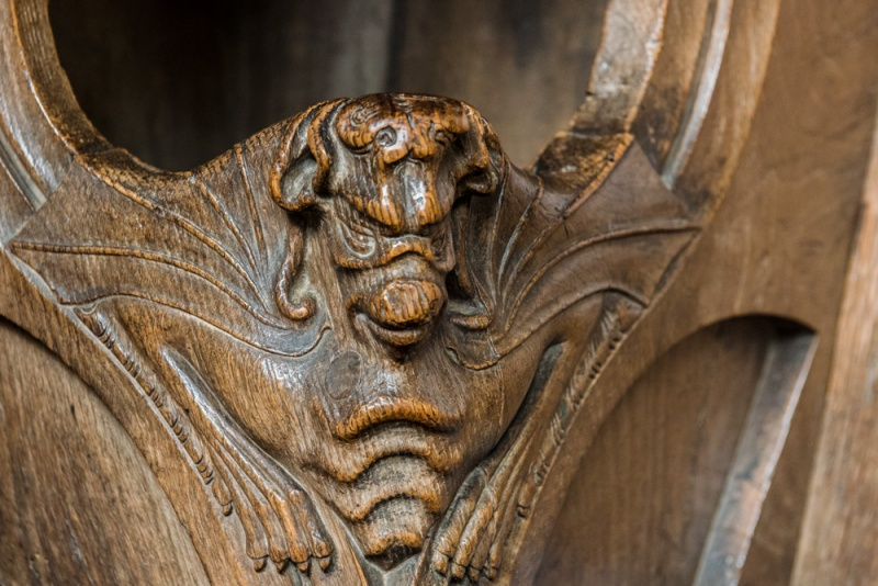 15th century bench end in the chancel