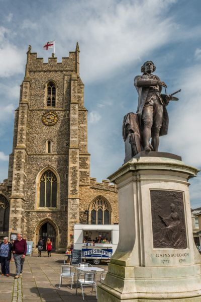 Sudbury, St Peter's Church photo, A statue of Gainsborough in front of St Peter's church