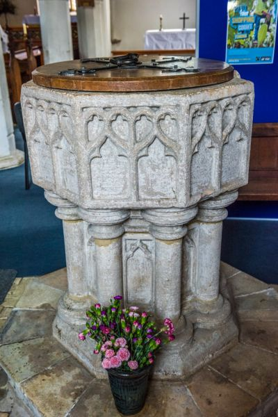 Sutton photo, The 14th century font in St Michael's Church