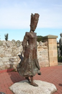 Bronze sculpture of a Pictish Princess outside the church