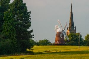 The mill and St John the Baptist Church, Thaxted