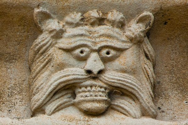 Thorney Abbey photo, Carved head of a lion, west front