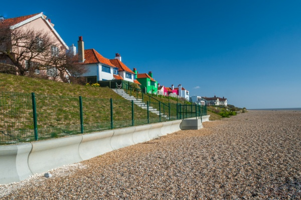 Houses on the beach at Thorpeness