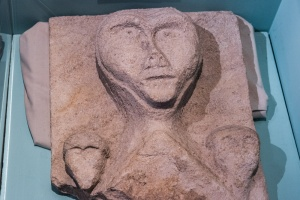 Saxon carving of a human head