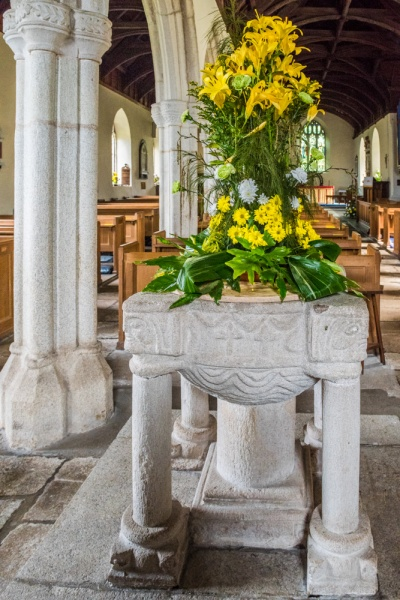 The medieval font in Norman style