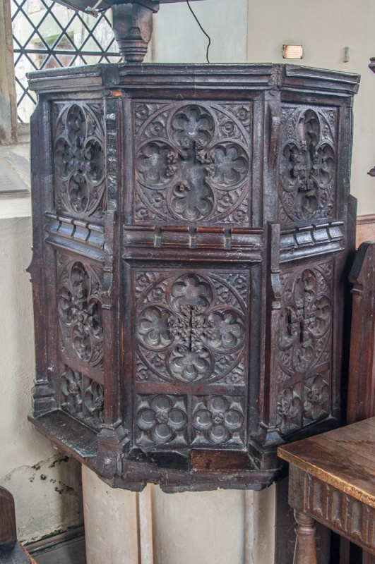 The richly carved 15th century pulpit