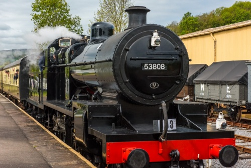 A steam locomotive at the Somerset and Dorset Railway Museum, Washford