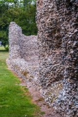 Flint rubble walls of the tower