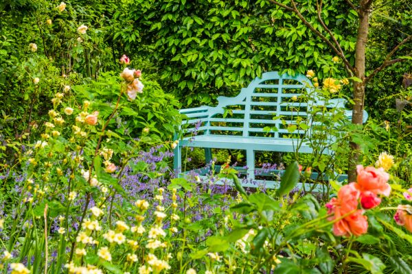 West Green House Garden photo, A garden bench lost in colourful flowers