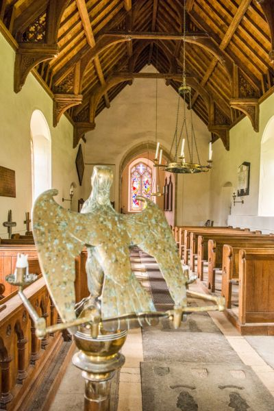 West Harling, All Saints Church photo, The eagle lectern and nave