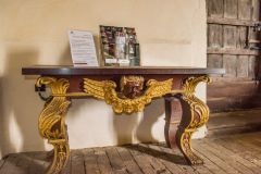 West Harling, All Saints Church, The ornately gilded mahogany table