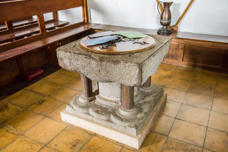 The restored 12th century font