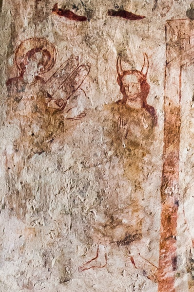 Wall painting of a horned Moses