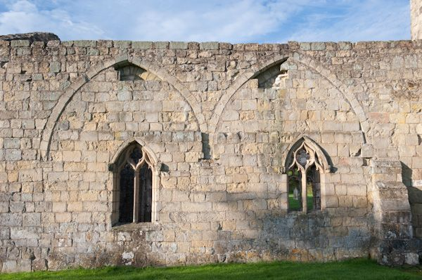 Wharram Percy Deserted Medieval Village photo, Blocked arches in the church wall