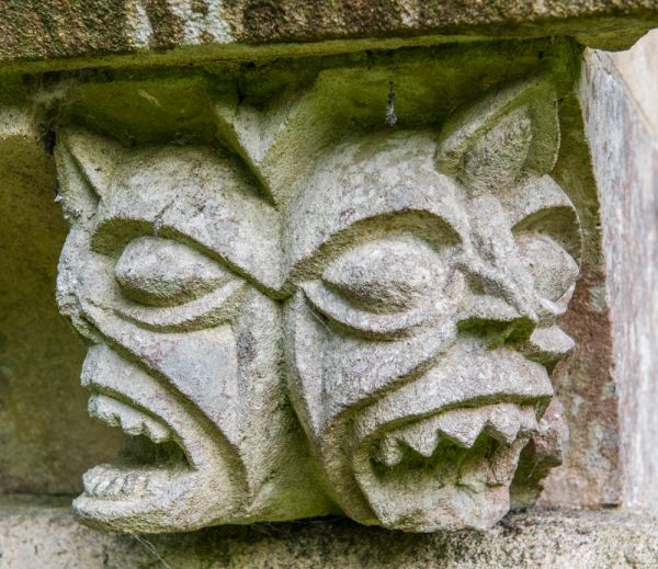 Wherwell, St Peter & Holy Cross Church photo, Medieval grotesque carving on the mausoleum