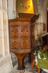 Whitchurch Canonicorum, St Candida & Holy Cross Church, The superbly carved 17th century wineglass pulpit