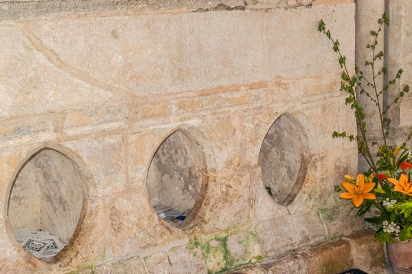 Holes in the base of St Wite's shrine