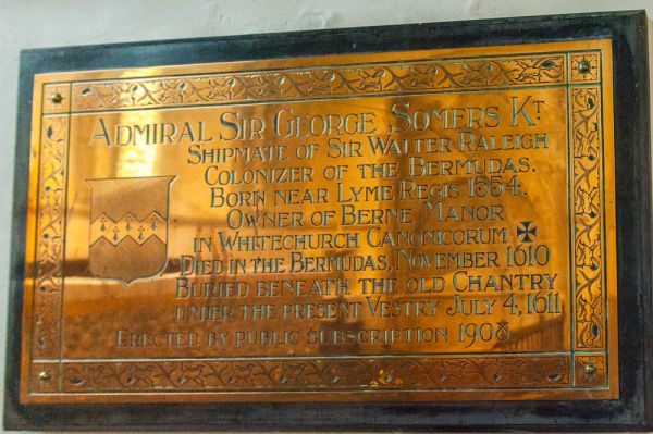 Whitchurch Canonicorum, St Candida & Holy Cross Church photo, Memorial plaque to Sir George Summers, d. 1610