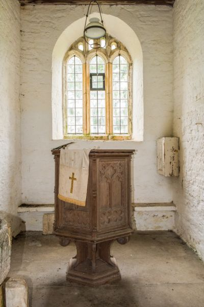 Whitcombe Church photo, The Jacobean pulpit under the tower