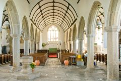 The spacious church interior