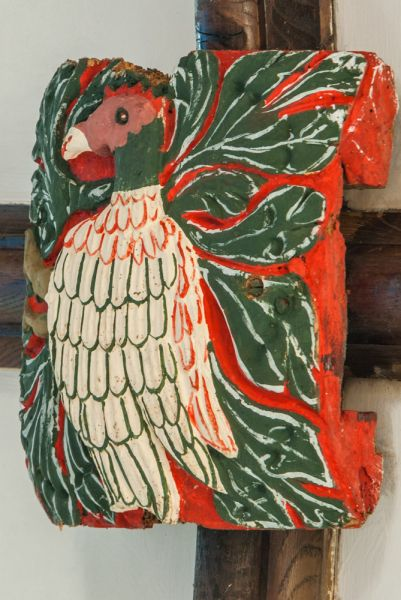 Widecombe-in-the-Moor, St Pancras Church photo, Roof boss of a rooster