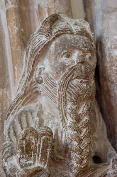 Wimborne Minster Church photo, Early 12th century Moses corbel