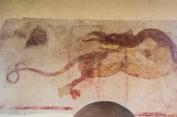 14th century wall painting of a dragon
