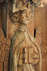 Medieval angel figure on the nave roof
