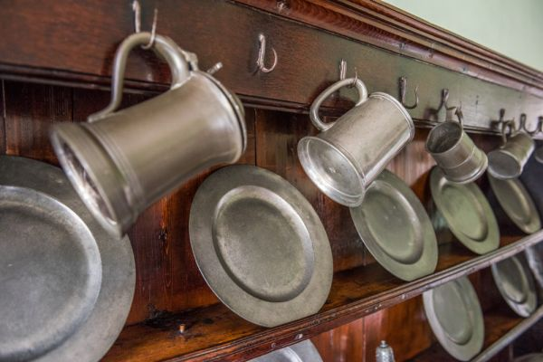 Wordsworth House photo, Pewter plates and mugs in the kitchen