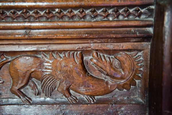 Wordwell, All Saints Church photo, 15th century carved figure of a dragon