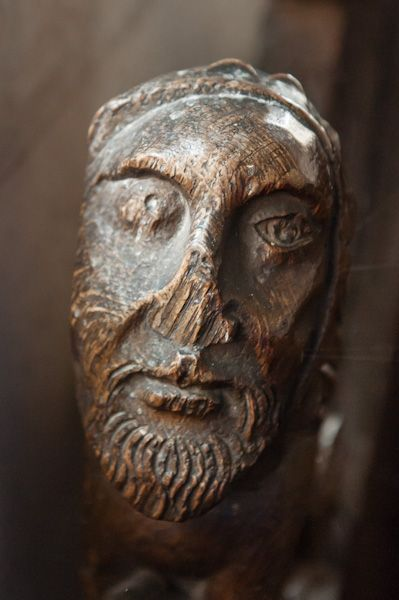 Wordwell, All Saints Church photo, Medieval bench end of a man's head