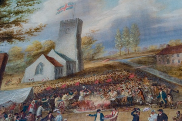 The painting of the Worlingworth Jubilee Feast in 1810