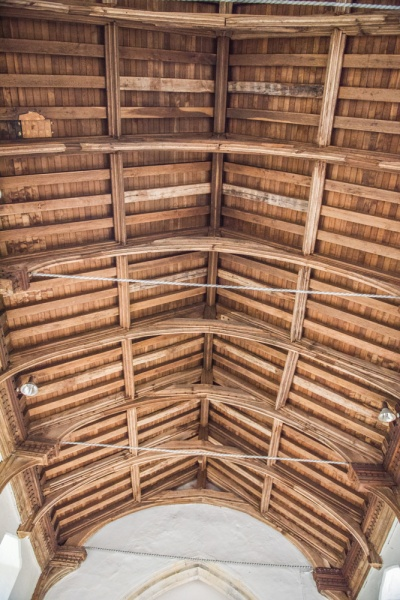 15th century timber roof of the nave